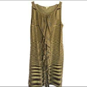 Gianni Bini green knit midi sleeveless silk dress